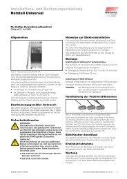 Installations- und Bedienungsanleitung Netzteil Universal - Warema