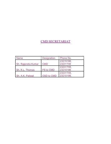 CMD SECRETARIAT - Delhi
