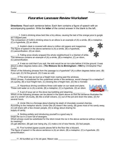Figurative Language Review Worksheet Reeths Puffer Schools