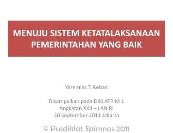 menuju sistem ketatalaksanaan pemerintahan yang baik - Pusdiklat ...