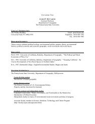 Curriculum Vitae Assistant Professor Department of Geography The ...