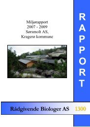 Miljørapport 2007 – 2009 Sørsmolt AS, Kragerø kommune.