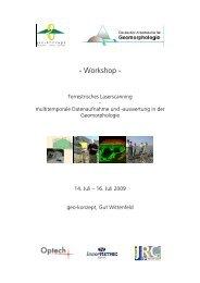 Workshop - Deutscher Arbeitskreis für Geomorphologie