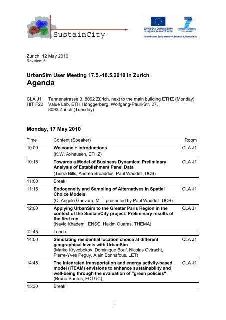 Agenda User Meeting - UrbanSim