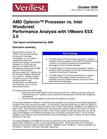 AMD Opteron™ Processor vs. Intel Woodcrest Performance Analysis ...