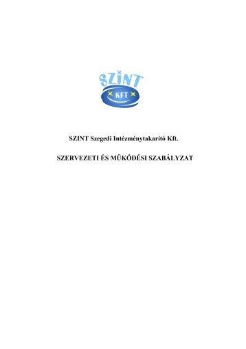 A SZINT Kft. Szervezeti és Működési szabályzata