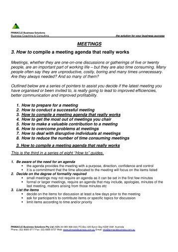 MEETINGS 3. How to compile a meeting agenda that really works