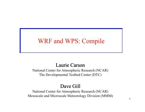 WRF and WPS: Compile