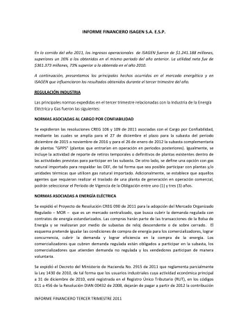 Informe financiero tercer trimestre de 2011 - Isagen