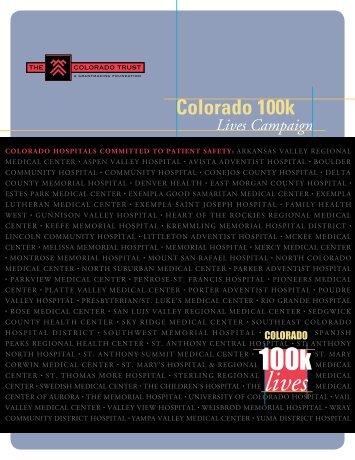 colorado 100k lives campaign report - The Colorado Trust