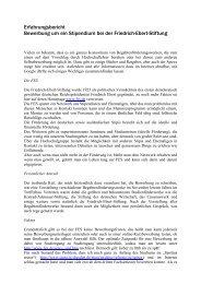 Erfahrungsbericht Bewerbung um ein Stipendium bei der Friedrich ...