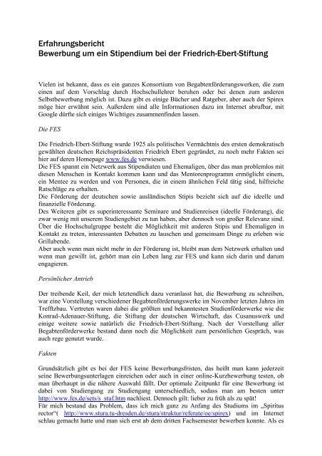 Erfahrungsbericht Bewerbung Um Ein Stipendium Bei Der Friedrich