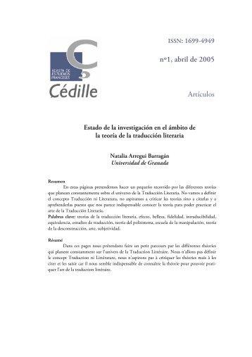 nº1, abril de 2005 Artículos - Çédille. Revista de estudios franceses