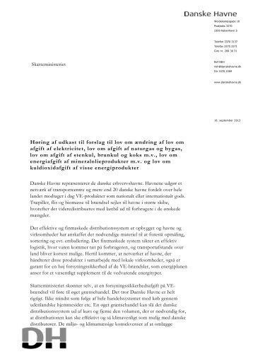 Høring af udkast til forslag til lov om ændring af lov ... - Danske Havne