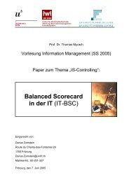 Balanced Scorecard in der IT (IT-BSC)