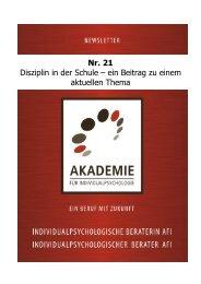 Nr. 21 Disziplin in der Schule - Akademie für Individualpsychologie