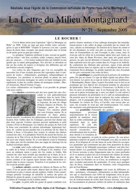 N°21 Que la Montagne est Belle sur le thème du rocher - Club Alpin ...