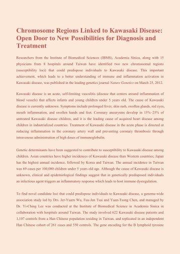 Chromosome Regions Linked to Kawasaki Disease - Institute of ...