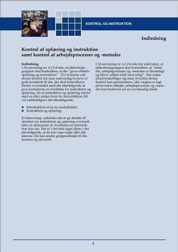 Kontrol af oplæring og instruktion samt kontrol af arbejdsprocesser ...