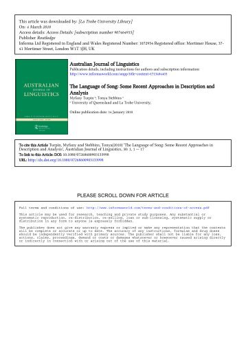 Some Recent Approaches in Description and Analysis - School of ...