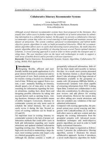 IE Paper Template - Economy Informatics Journal