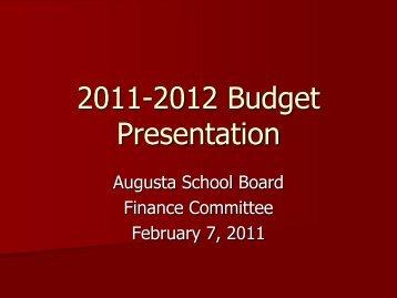 Finance Committee Presentation - City of Augusta, Maine - School ...