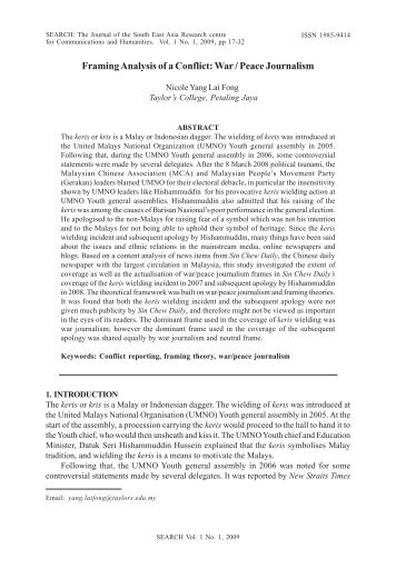Framing Analysis of a Conflict: War/Peace Journalism - Nicole Yang ...