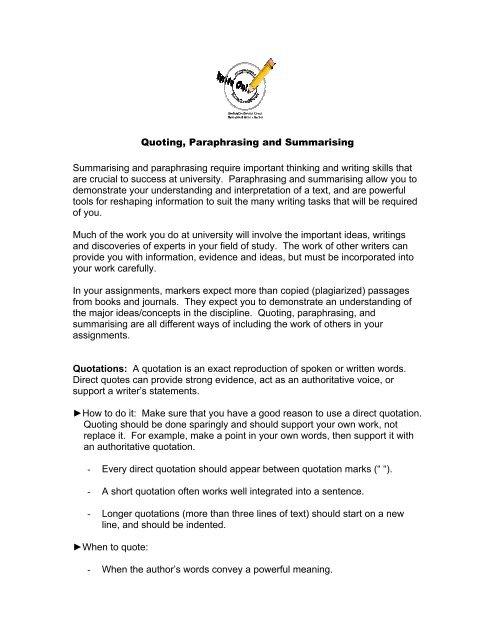 Quoting, Paraphrasing and Summarising Summarising and ...