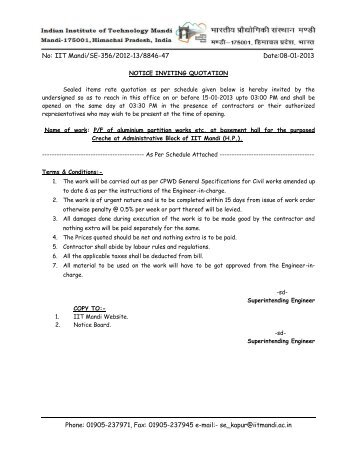 Quotation Letter - IIT Mandi