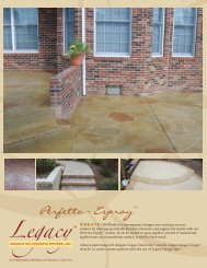 Sales Sheet - Legacy Decorative Concrete Systems, Inc.