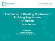 The Future of Building Control and Building Regulations - An Update -