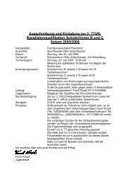Ausschreibung und Einladung zur 2. TTVR- Ranglistenqualifikation