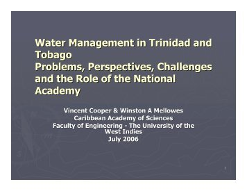 Water Management in Trinidad and Tobago Problems ... - ianas