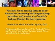 Vocational retraining challenges - Institute for Work & Health