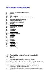 Unterwasserrugby-Spielregeln 1. Spielfeld und Ausrüstung beim Spiel