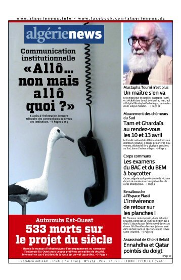 Fr-04-04-2013 - Algérie news quotidien national d'information