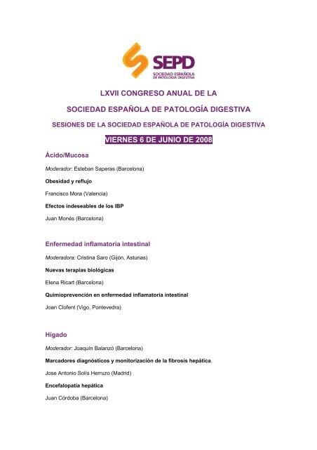 lxvii congreso anual de la sociedad española de patología digestiva ...