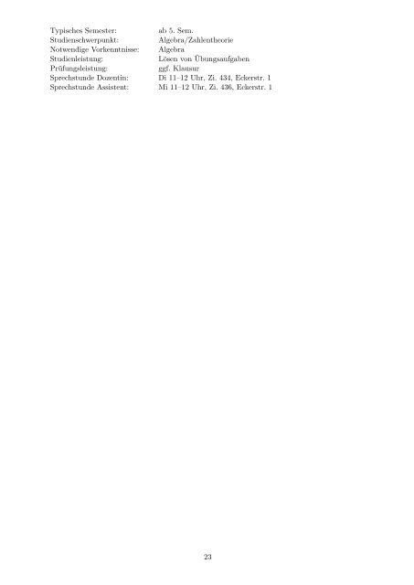 Kommentiertes Vorlesungsverzeichnis WS 09 10 - Mathematisches ...