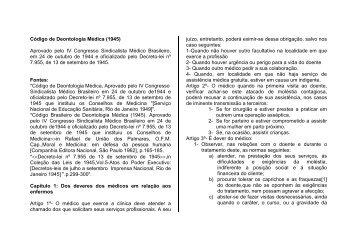 Código de Deontologia Médica - Conselho Federal de Medicina