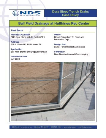 Dura Slope Trench Drain Case Study: Ball Field and Dugout ... - NDS