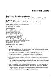 Protokoll AG 6 - 4. Sitzung - Kultur im Dialog