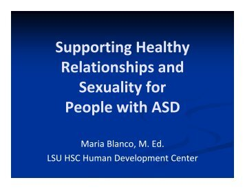 Supporting Healthy Relationships and Sexuality for People with ASD