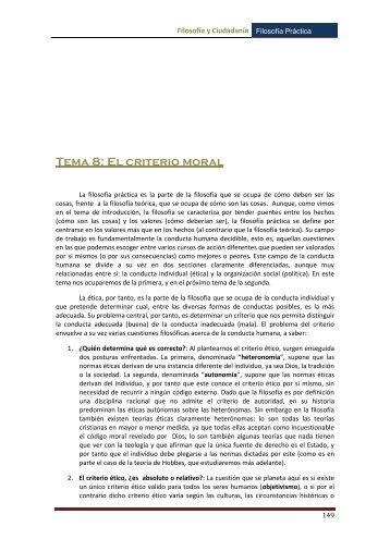 Tema 8: El criterio moral - inicio