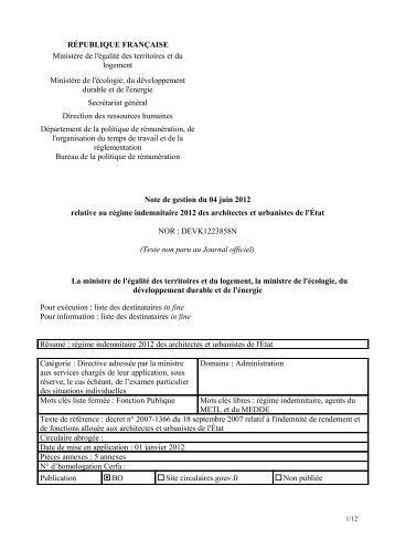 note de gestion 2012 - SUP-Equip