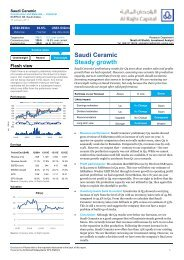 Saudi Ceramic Steady growth - Al Rajhi Capital