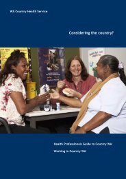 Considering the country? - WA Country Health Service