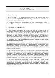 Rules for IBU Licenses - International Biathlon Union