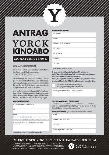 Kinoabo mit monatlicher Zahlung - Yorck Kino GmbH