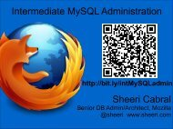 Intermediate MySQL Administration Sheeri Cabral