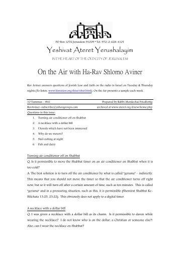Yeshivat Ateret Yerushalayim On the Air with Ha-Rav Shlomo Aviner